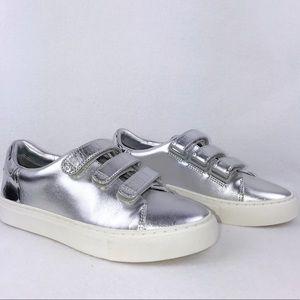 Tory Burch Sport   Silver Metallic Sneakers SZ 6.5